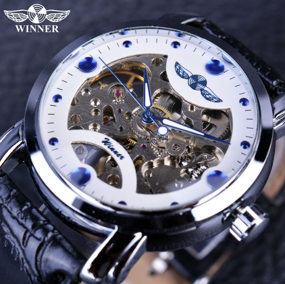Winner White Blue Dial Watch Men Luxury Brand Automatic Mechanical Skeleton Watch Designer Watches Men Wristwatch Clock Men ultra luxury 2 3 5 modes german motor watch winder white color wooden black pu leater inside automatic watch winder