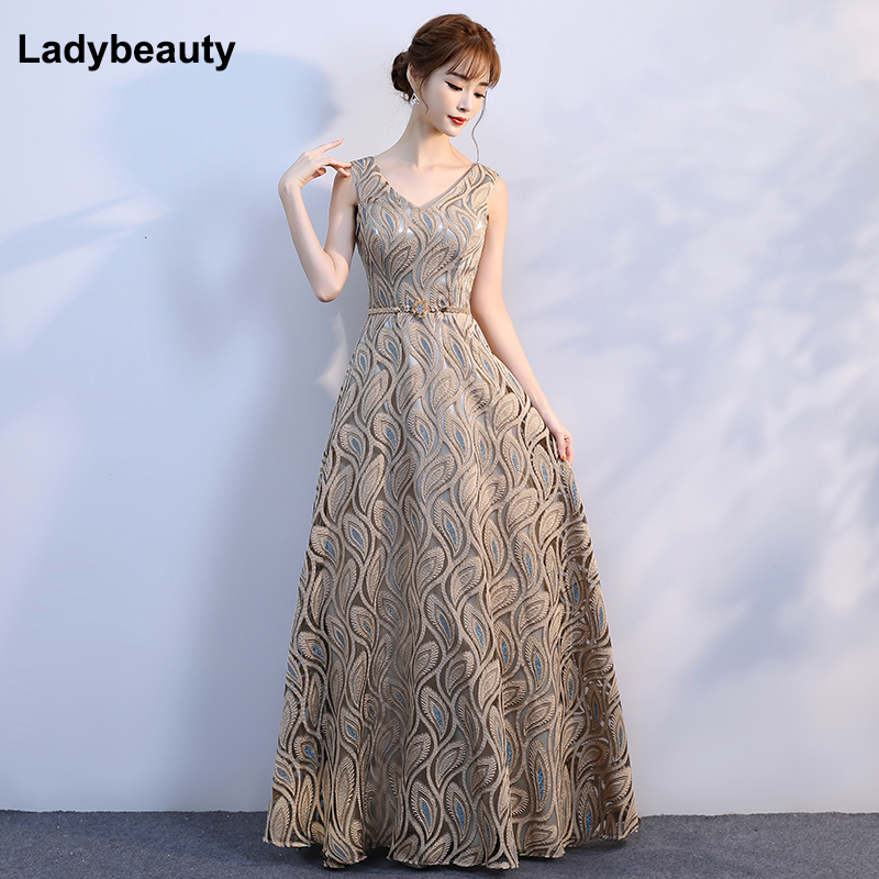 Ladybeauty 2019 New arrival V-neck Pattern Gold Floral Lacing Elegant   Evening     Dresses   Party Gown   Evening   Gowns For