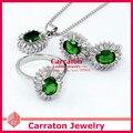 Carraton SXF3008 Fashion Women Emerald Silver Jewellery Sets