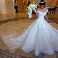 Don's Bridal Luxury Ball Gown Wedding Dresses 2016 Cathedral Train Embroidered Organza And Tulle Bride Dress