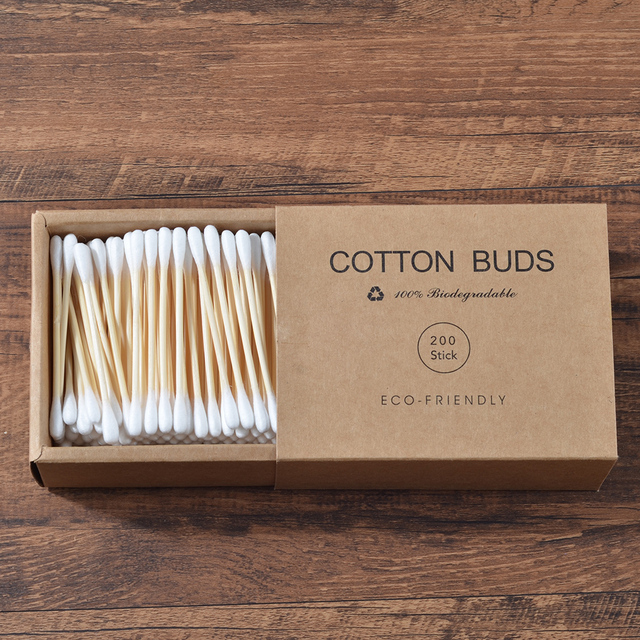 Plastic-Free 200Pcs/Box Double Head Bamboo Cotton Buds Adults Makeup Cotton Swab Wood Sticks Nose Ears Cleaning Health Care Tool 2