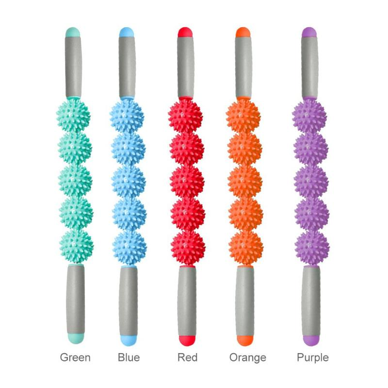 New Yoga Massage Stick Relax Muscle Roller 5 Hedgehog Balls Anti Cellulite Slimming Muscle Body Massage Stick Massage Relax ToolNew Yoga Massage Stick Relax Muscle Roller 5 Hedgehog Balls Anti Cellulite Slimming Muscle Body Massage Stick Massage Relax Tool