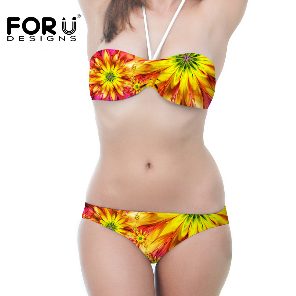 2017 Women Bandeau Bikini Yellow Sunflower Pattern Print Swimsuit Strappy Swimwear Biquini Trikini <font><b>Sexy</b></font> <font><b>Costume</b></font> <font><b>Da</b></font> <font><b>Bagno</b></font> Donna image