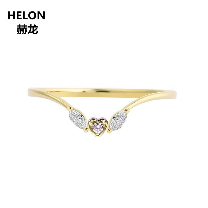 SI/H marquesina diamantes naturales mujeres anillo de compromiso sólido 14 k oro amarillo certificado Diamante boda banda regalo de aniversario