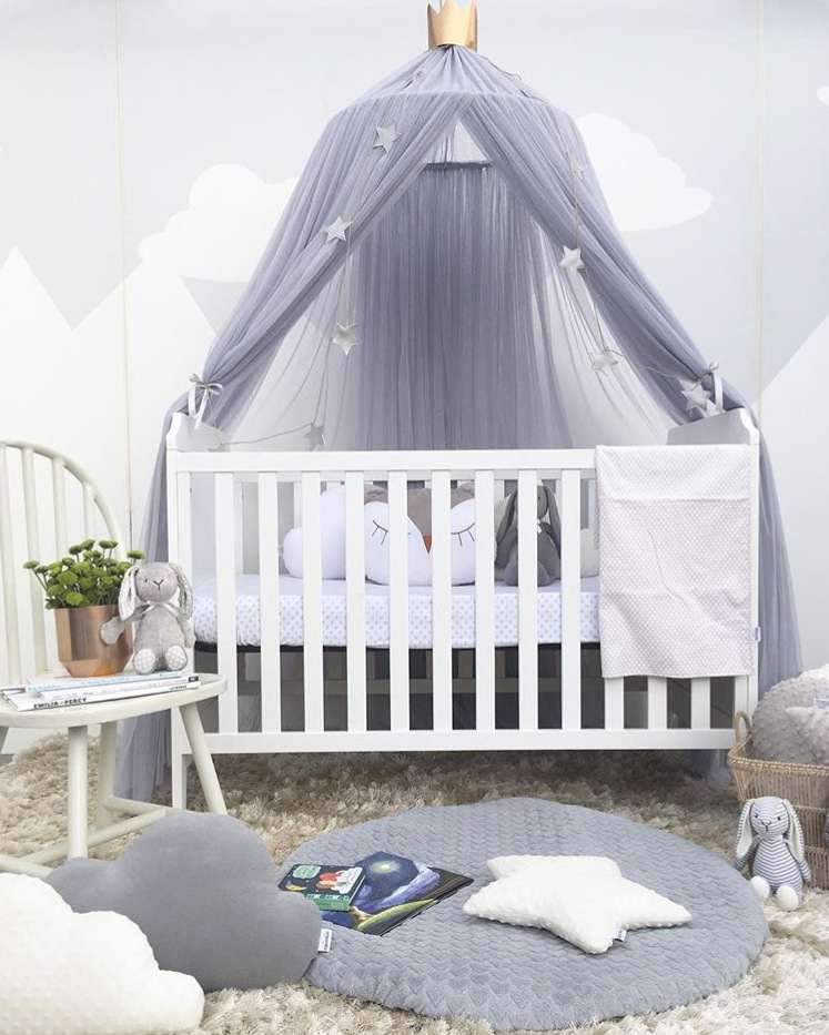 Princess Girl Lace Round Hung Dome Mosquito Net Children Room Decor Nordic Baby Crib Curtain Girl Bedroom Tent Canopy Bed