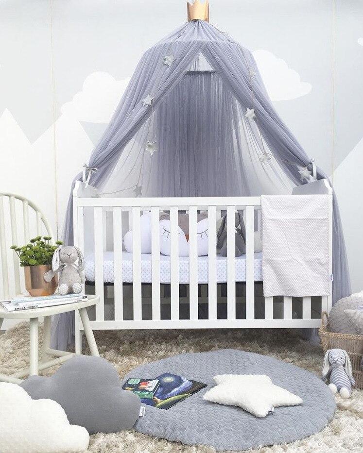 Prinses Meisje Kant Ronde Hung Dome Klamboe Kinderen Room Decor Nordic Baby Crib Gordijn Meisje Slaapkamer Tent Luifel Bed