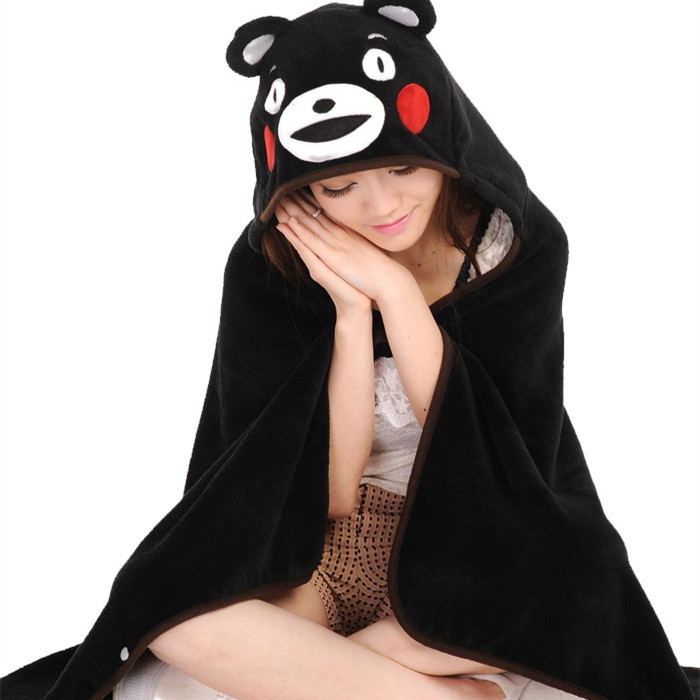 Candice guo! Super cute Anime Cosplay Cloak kumamon black bear plush toy soft hoodies blanket birthday gift 1pc