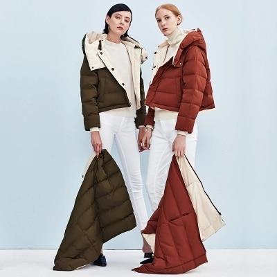 long Moyen 2017 Des Taille Femmes La D'oie Duvet Army Mince Occasionnelles Le Vestes Survêtement rouge Green D'hiver Plus Capot Vers Face Veste Double Bas Manteau q5xTC8zT
