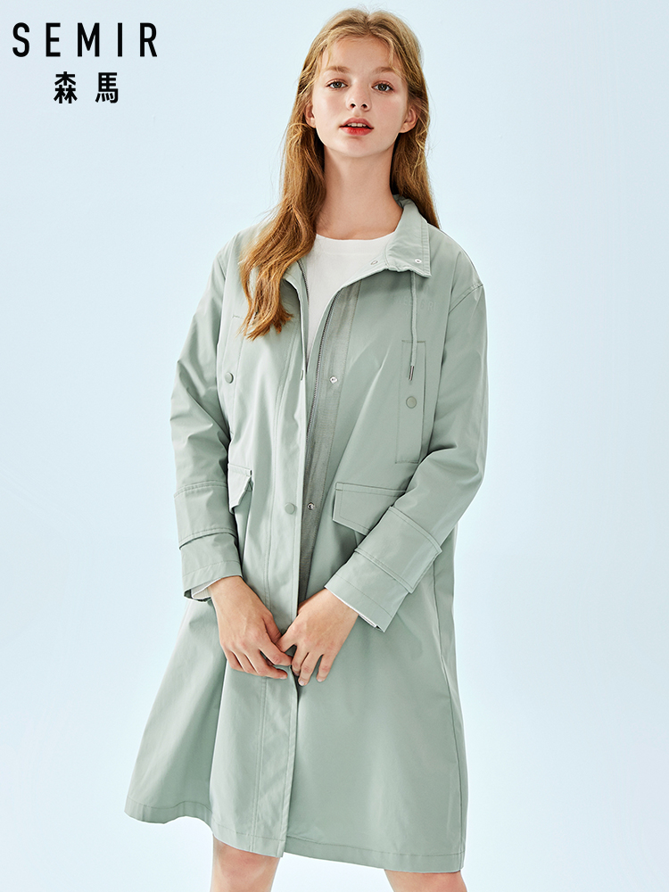 SEMIR Women Long Utility Jacket With Drawstring Stand-up Collar Women Long Trenchcoat Trenchcoat With Pocket For Spring Autumn(China)