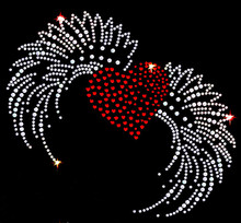 FS (2pc/lot) Big Flying heart hot fix rhinestone motif designs applique iron on transfers patches