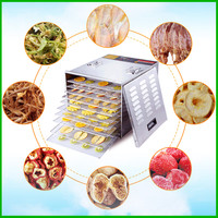 Free Shipping Food Air Drier New Arrival 10 Tray 1200W 304 Stainless Steel Vegetable Dehydrating Machine