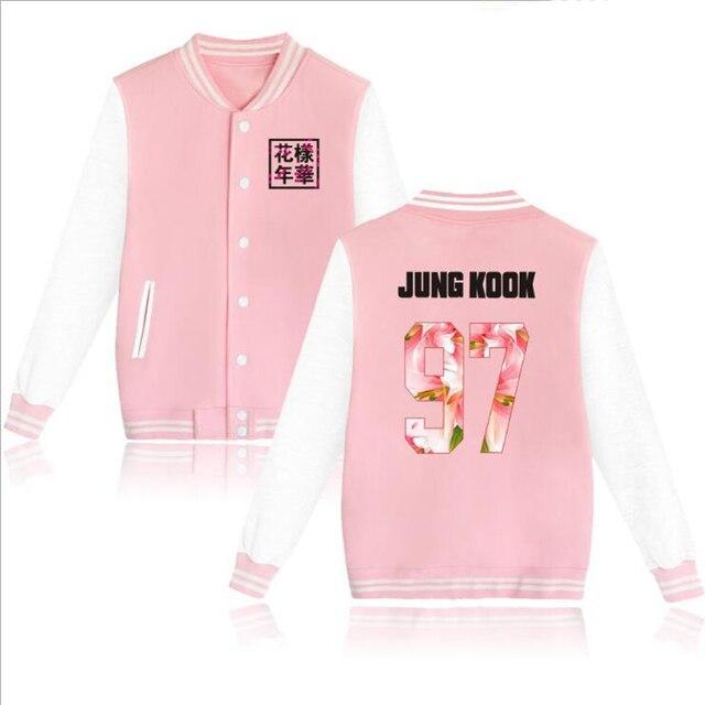 814feadda1f БЦ в Цзиминь и JUNGKOOK розовый Бейсбол форменная куртка Для женщин Для  мужчин костюм Bangtan Обувь
