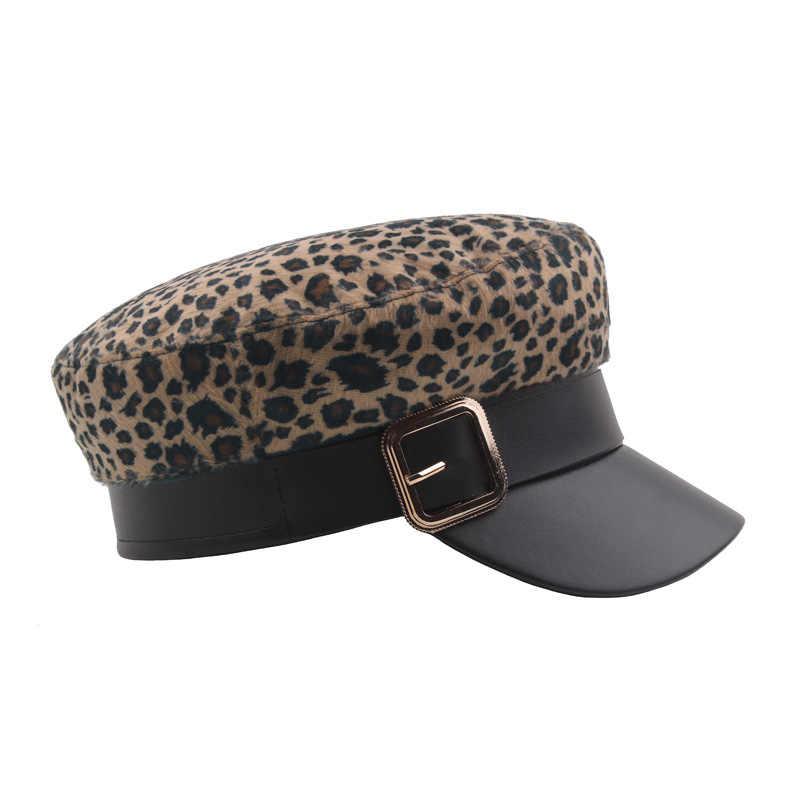 Винтажная Шерстяная кепка с леопардовым принтом, повседневная мужская Пряжка, гладкая шляпа, восьмиугольная кепка, женские повседневные модные аксессуары, военная Кепка