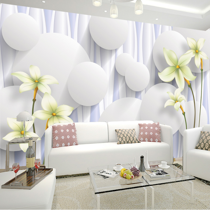 Custom Lily Flower Non-woven Wall Mural Wallpaper Roll Bedroom Living Room Sofa Backdrop Home Decoration Wall Paper Flowers Art  custom mural wallpaper 3d non woven black and white flower hand painted paintings living room sofa tv 3d wall murals wallpaper