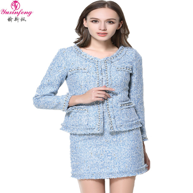 As mulheres Saia Conjuntos 2017 Europa Senhoras Beading Borlas de Lã Tweed Jaqueta + Ternos de Saia Curta Duas Peças Das Mulheres Conjuntos de Roupas outono