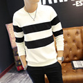 2016 Male autumn fashion casual tops tees full sleeve o-neck stylish all-match pullover striped hoodies for men