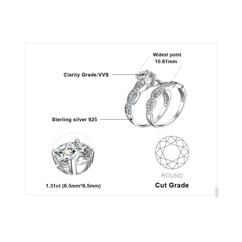 JewelryPalace 1.5ct Бесконечность Кубического Циркония Годовщина Обещание Обручальное Кольцо Обручальное Кольцо Свадебный набор