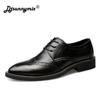 DJSUNNYMIX Brands Men Oxfords Shoes British Style Carved Genuine Leather Shoe Black Brogue Shoes Lace Up Business Men's Flats