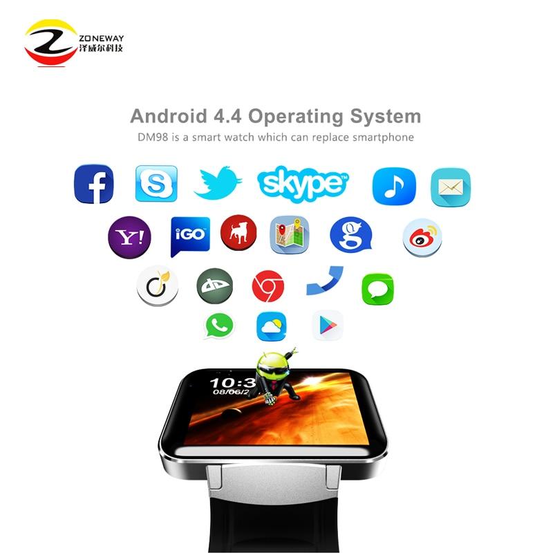 DM98 reloj inteligente MTK6572 Dual core 2,2 pulgadas HD IPS pantalla LCD de 900 mAh batería de la batería 512 MB Ram 4 GB rom Android 4,4 OS 3G WCDMA GPS WIFI - 4