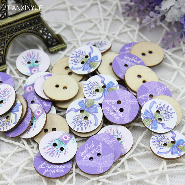Wood Sewing Button Scrapbooking Round At Random Two Holes Lavender Dragonfly Pattern 24.0mm Dia,50 PCs,DIY Clothing Accessories