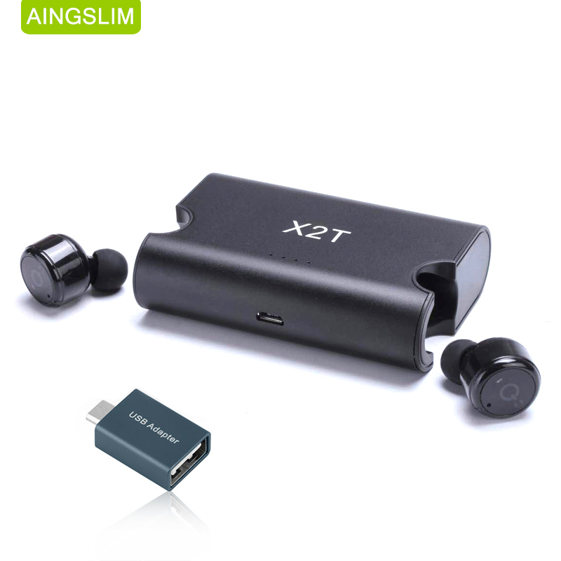 AINGSLIM Mini Bluetooth 4.2 Earphone Stereo Earbuds Headset True Wireless Twins Earphones with Charger Box Portable for i7 phone hlton portable wireless bluetooth earphone handsfree mini headset stereo earbuds car fast charger with mic for smartphone pc