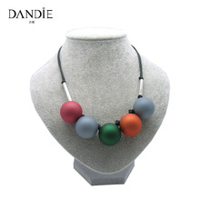 Dandie Fashion Colorful Rubber Beads Necklace For Women, Trendy Jewelry, Beaded