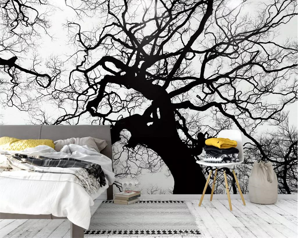 Beibehang Modern Minimalistic Black And White Sketch Big Tree Mural Wallpaper Abstract Woods TV Background Wall 3d Wallpaper