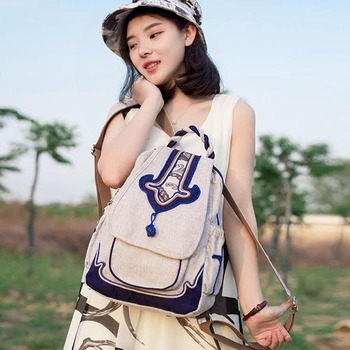 Blue and White Porcelain Style Backpack Chinese Vintage Backpacks Women Casual School Bag Travel Large Capacity Bags Bookbag