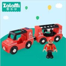 ABS Fire Engine For Child Kinderen Houten Railway Trein Bouwstenen Puzzel Onderwijs Model Interessante Auto Speelgoed Gift