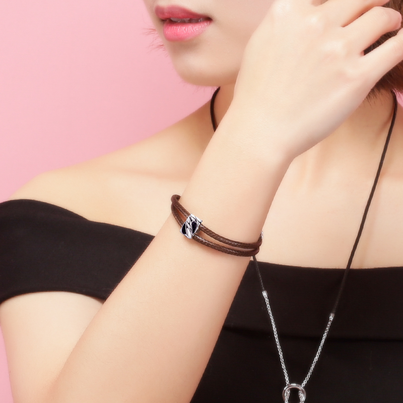 SA SILVERAGE Butterfly Bracelet with Aventurine Female 2019 925 Sterling Silver Two Layer Wax Rope Bracelets Bangles for Women in Bracelets Bangles from Jewelry Accessories