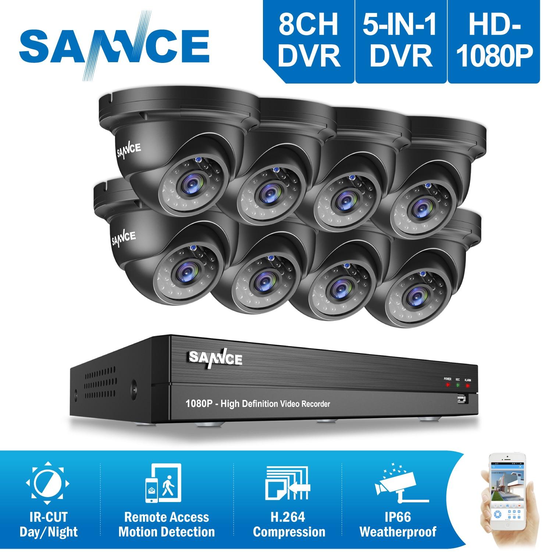 SANNCE 8CH HD 1080P CCTV System 8pcs 2.0MP IR Outdoor CCTV Security Cameras 8 channels 3000TVL1080P Video Surveillance DVR Kit цена