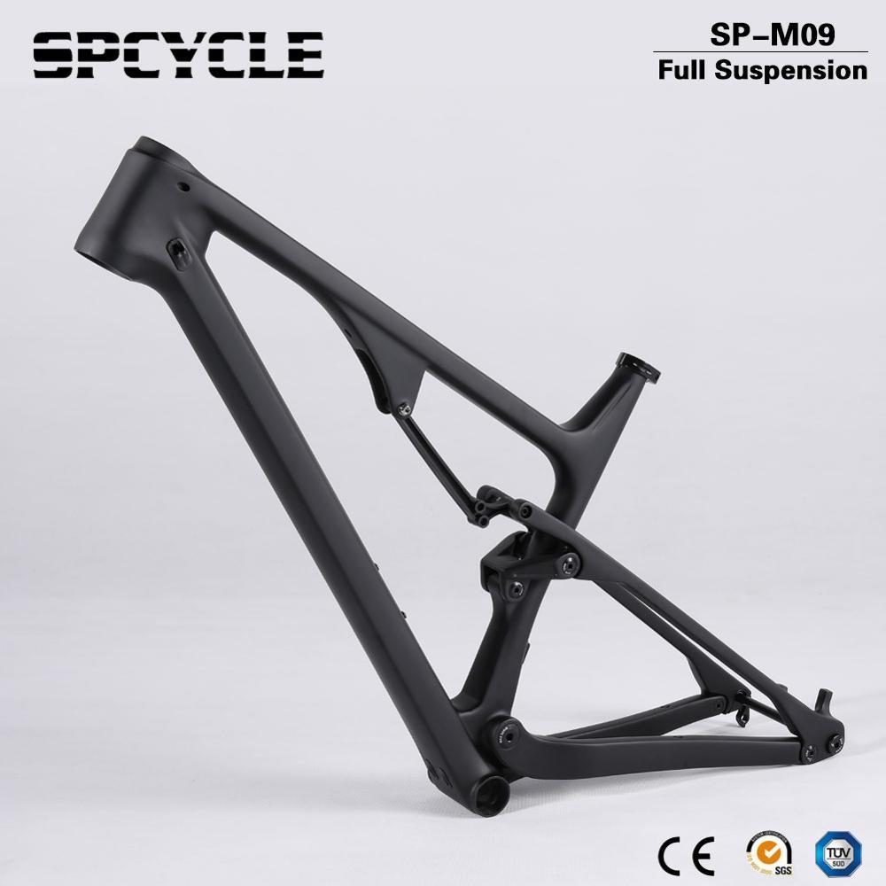 Spcycle 29er Full Suspension Carbon Mountain Bike Frame Disc Brake Carbon MTB Bicycle Frameset in Shock 165*38mm travel BSA BB