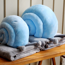1 Set Fashion Coral fleece Cute Snail Cartoon Pillow blanket Nap Car Bolster Blanket 2 in