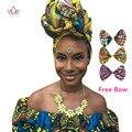 Mulheres Cabeça Lenço Dashiki africano Bazin Riche Das Mulheres acessórios de cabelo Cabeça Empate Gele Africano Ancara Impressão do Envoltório do Lenço Batik WYS17