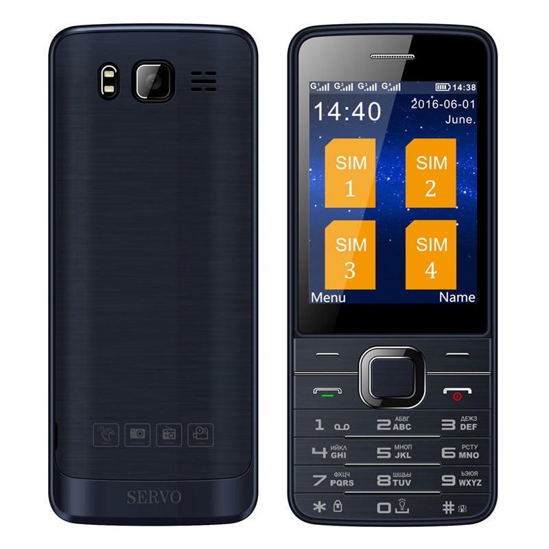 SERVO V9500 four Quad SIM cards 4 sim cards 4 standby single camera 2.8 inch flashlight mp3 GPRS FM radio cell mobile phone P283