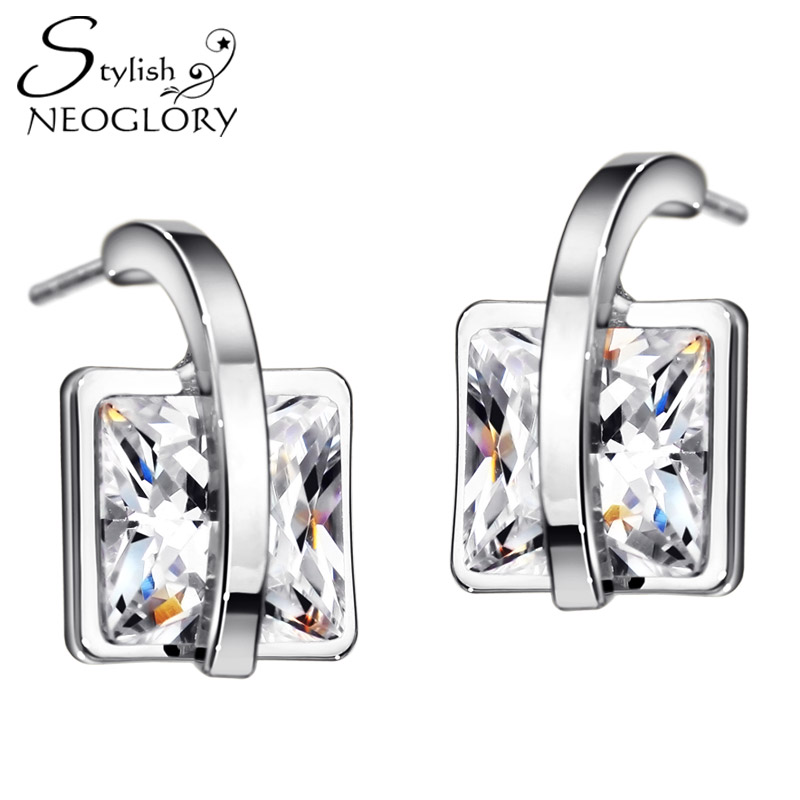 Neoglory Stylish Square Stud Earrings AAA Zircon Elegant Daily Jewelry Simple Style Wedding Party Accessories For Women New 2016