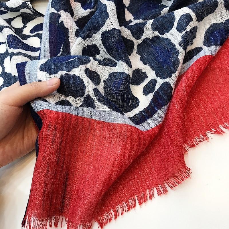 Designer leopard scarves for women ladies office autumn winter spring red dark blue patchwork leopard print scarf wrap shawl