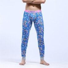 COCKCON Men Long Johns Cotton Thermal Pants Autumn and Winter Printed Tight Mid-waist Underwear pantalon 529