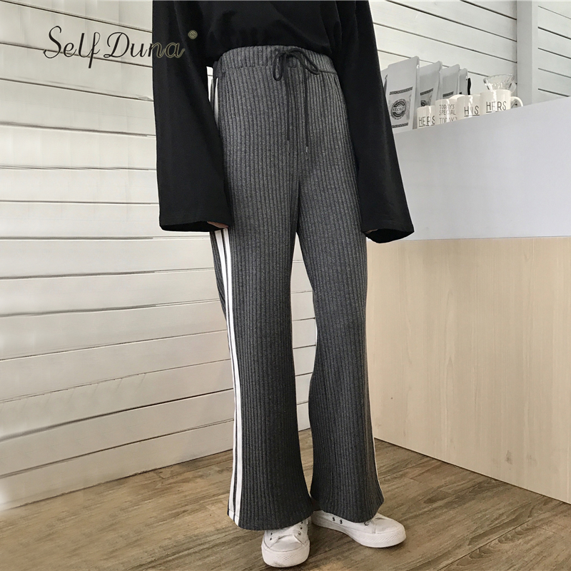 Self Duna 2017 Autumn Women Trousers Striped Palazzo   Pants   Black Loose Lace Up Elegant Vintage Female High Waist   Wide     Leg     Pants