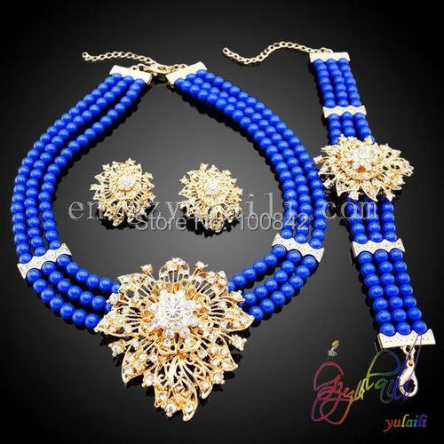 Jewelry-Set Beads Royal-Blue-Bead-Set Fashion Gold-Color Handmade 2-Gram