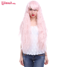 L-email wig New 90cm/35.4inches Long Water Wave Women Wigs 2 Colors Pink Brown Synthetic Hair Perucas Cosplay Wig
