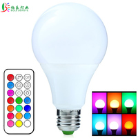 E27 RGBW LED Bulb 10W AC85 265V Dimmable Colorful RGB White Lamp Bulbs Chandeliers Light With