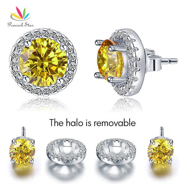 Peacock Star 2.5 Carat Round Fancy Yellow Created Diamond Halo (Removable) Stud Solid 925 Sterling Silver Earrings CFE8127