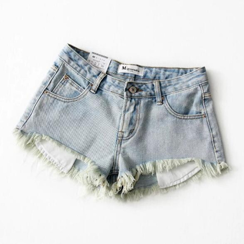 Hight Street Tassel Hem Mini Short Denim Shorts Ripped Denim Short Pants Burr Hem Retro Sexy Summer Short Jeans Women Trousers