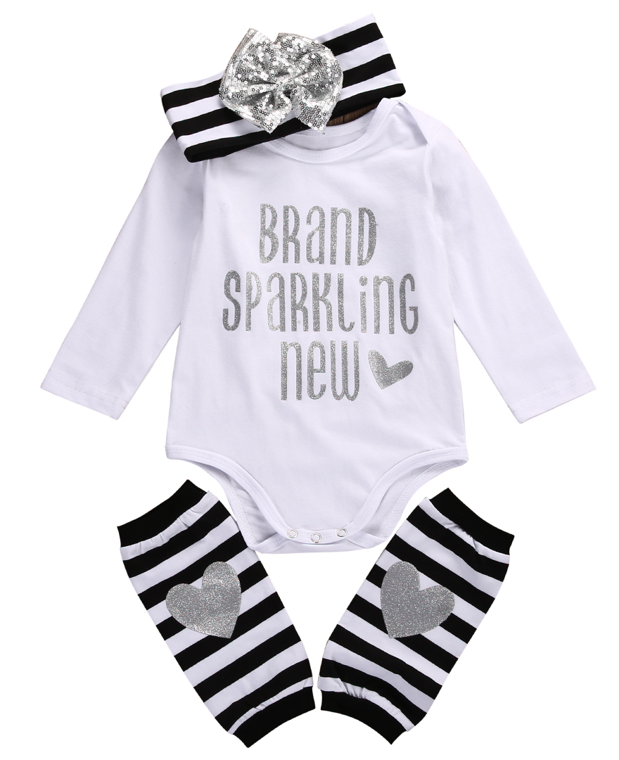 3Pcs Newborn Baby Boy Girl Clothes Long Sleeve Sequin Romper Stripe Headband Leg Warmers Suits Kids Baby Casual Outfit Sets
