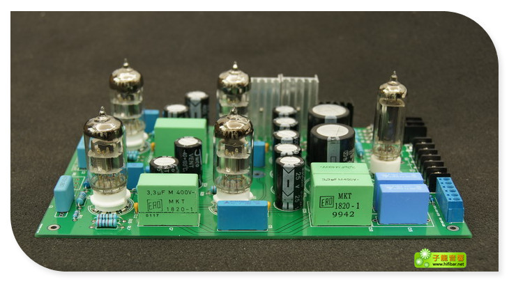Assembled 6N11 tube pre-amplifier board