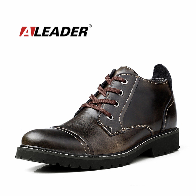 2016 Vestido Clásico Británico Botas de Los Hombres de Cuero de Oxfords Zapatos Invierno Botines para Hombre A Prueba de agua Zapatos Calientes Botas de Piel Casuales