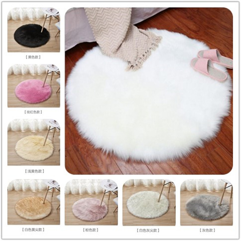Hot Sale Soft Faux Fur Wool Living Room Sofa Carpets Plush Mats Bedroom Cover Mattress Xmas Door Window Round Rugs