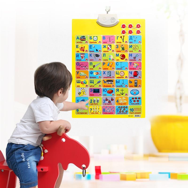 Обучающие Машины USHARE, русская звуковая настенная диаграмма, языковая обучающая для детей, русский алфавит, настенная диаграмма, Детские Обучающие инструменты