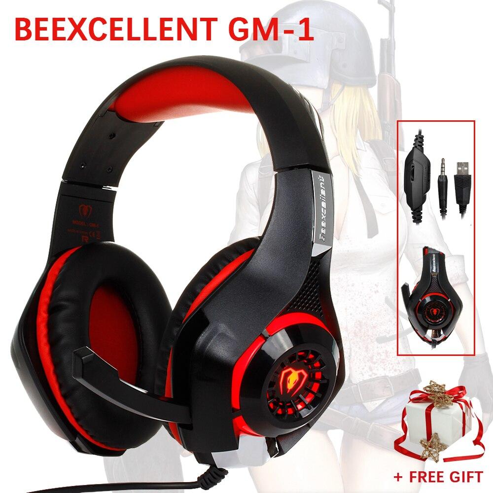 Beexcellent GM-1 Gaming Cuffie con Il Mic HA CONDOTTO LA Luce Stereo Gioco Cuffie 3.5 MM di trasporto Wired USB Fascia Cuffie Per PC PS4 i giocatori